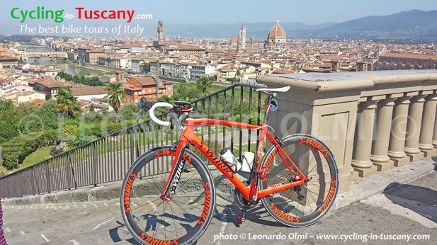 Italy, Tuscany, Florence, view from Michelangelo Square, cycling bike tours