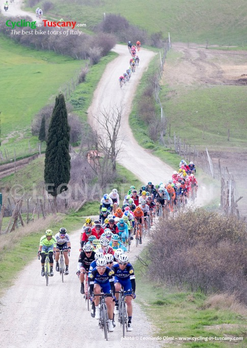 The pelotons ride during the 2016 Strade Bianche from Siena's Fortezza Medicea to Siena's Piazza del Campo, Italy, 5 March 2016. Strade Bianche is a 176km road race containing seven sectors of white gravel roads. ANSA/CLAUDIO PERI