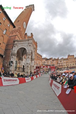 Siena, Piazza del Campo during Strade Bianche Eroica pro-cycling race