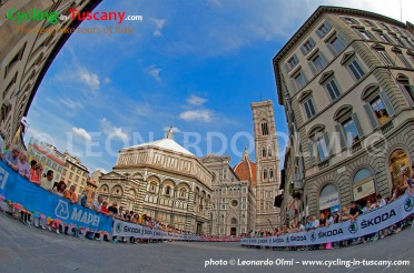 Italy, Tuscany, Florence, Duomo square, 2013 Cycling World Championship