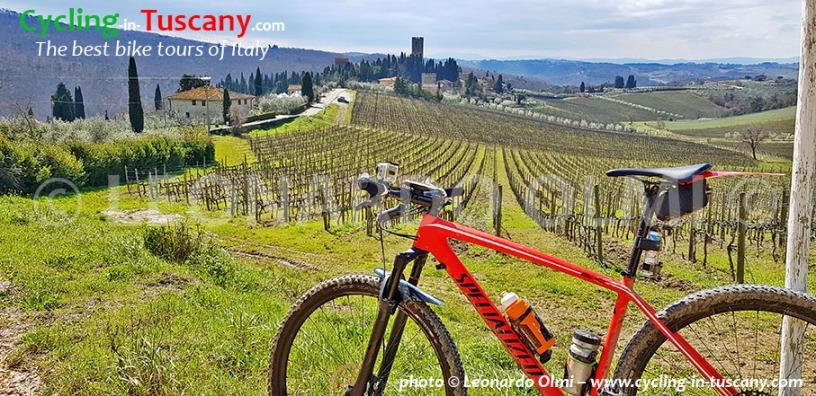 Italy, Tuscany, Chianti, Badia a Passignano Abbey, mountainbike cycling tours